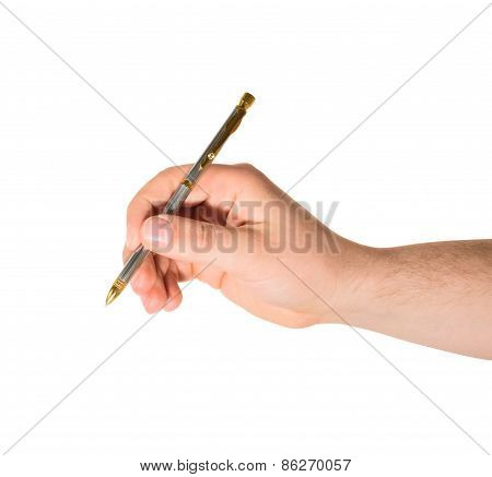 Hand holding a pen isolated