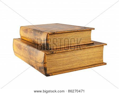 Two old books isolated