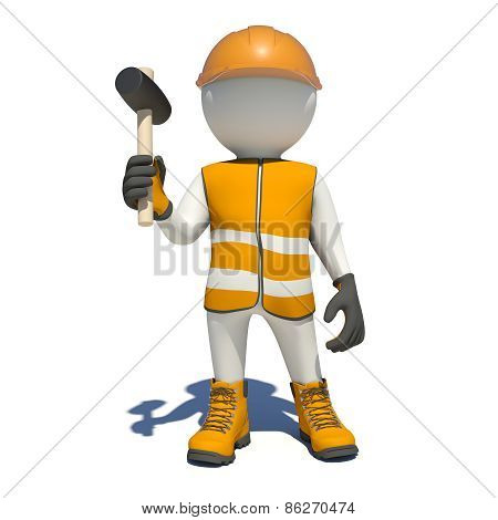 White man in special clothes with mallet