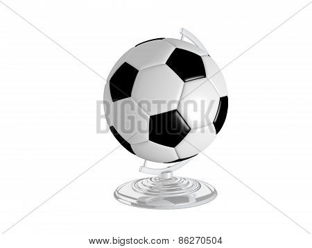 Soccer Ball On Gloden Globe Stand