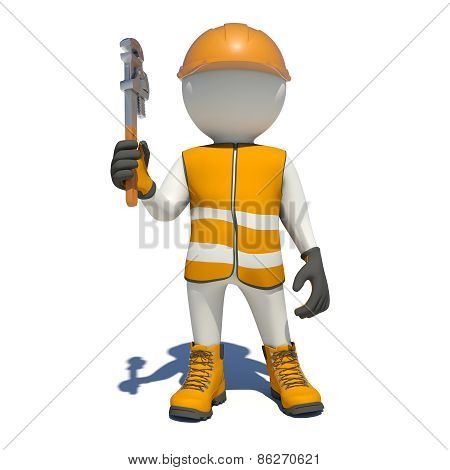 White man in special clothes with adjustable spanner