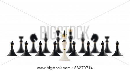 White chess king opposite to black ones