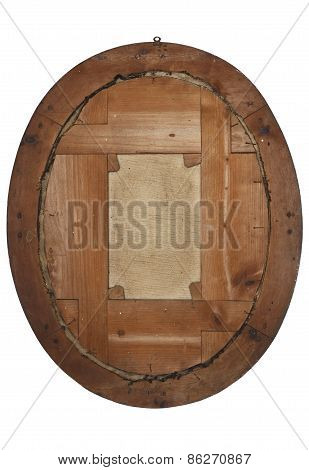 old wooden picture frame view from behind