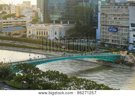 Ho Chi Minh City/vietnam - Feb 6 2014 : One Hundred Years Old Green Mong Bridge At Tau Hu Canal At N