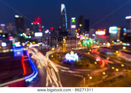 Ho Chi Minh City/vietnam -circa Jan 2015: Ho Chi Minh City (or Saigon) Bokeh Abstract Background.