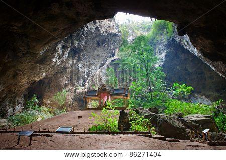THAILAND,PRACHAUPKHIRIKHAN - MAR24:King RamaV pavilion in limestone cave important visiting nature l