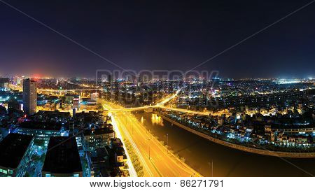Night View Of Y Character Bridge At Ho Chi Minh Riverside W
