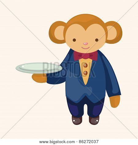 Animal Monkey Waiter Cartoon Theme Elements