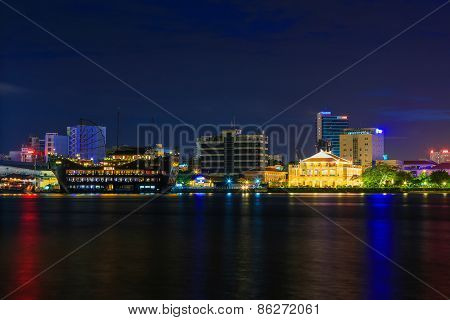 Ho Chi Minh City/vietnam September 14 2014 : Night View Of Dragon House Wharf ( Ben Nha Rong ) Or Ho