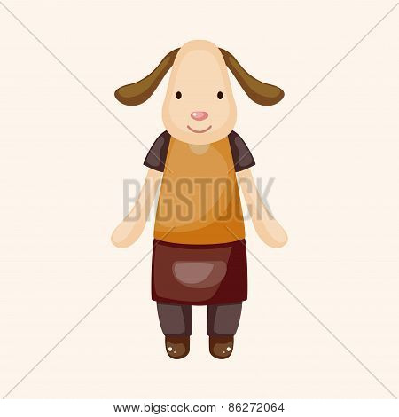 Animal Dog Waiter Cartoon Theme Elements