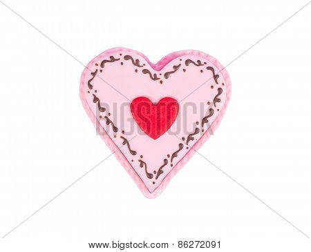 Heart shape cake, isolated on white background