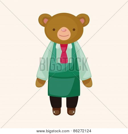 Animal Bear Waiter Cartoon Theme Elements