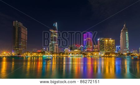Night View Of Saigon River At Downtown ( Center ) Of H