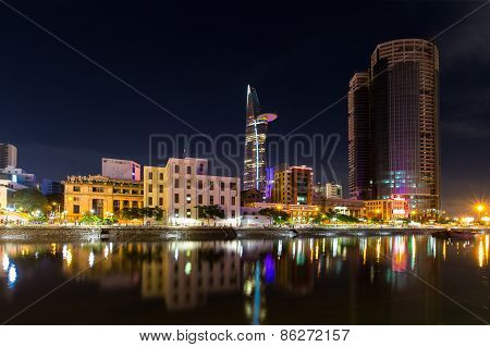 Night View Of High Building On Tau Hu Canal At Ho Ch