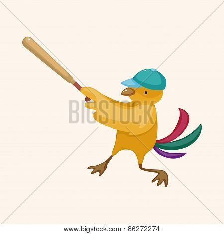 Baseball Bird Cartoon Theme Elements