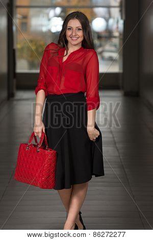 Elegant Lady With Stylish Hat And Leather Bag