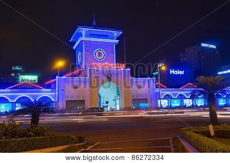 Night View Of Ben Thanh Market At Quach Thi Trang Park In