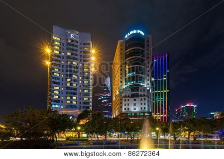 Ho Chi Minh City, Vietnam - November 16, 2014 : Night View Of The Me Linh Square And Buildings Aroun
