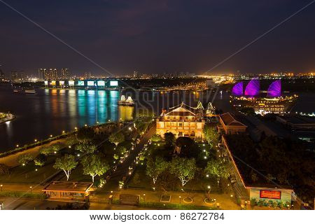 Night View Of Dragon House Wharf ( Ben Nha Rong ) Or H