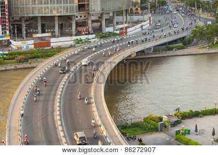 Ho Chi Minh, Vietnam - Circa Feb 2015 . Traffic At Curves Of Khanh Hoi Bridge At Downtown Of Saigon,