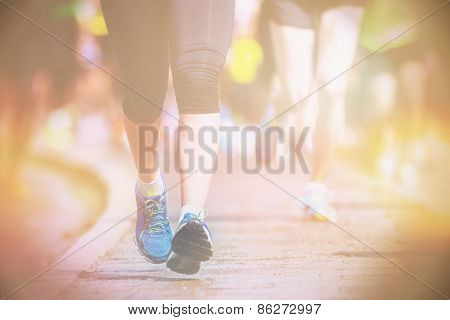 Legs And Feet Closup During A Marathon