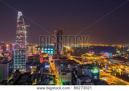 Ho Chi Minh City / Vietnam - Mar 17 2014: Night View Of Ho Chi Minh Cityscape In Sunset, Vietnam