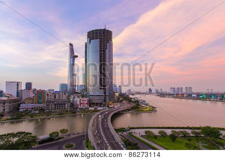 Ho Chi Minh City/vietnam - Circa Feb 2015 : Ho Chi Minh Riverside With Khanh Hoi Bridge At Sunset In