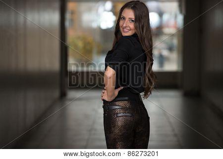 Fashion Model Wearing Peplum Top Silk