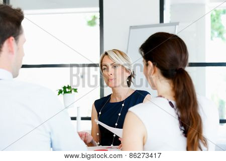 Business woman discussing new project with her partners