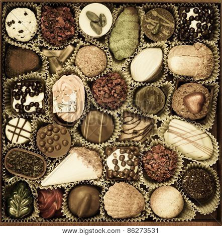 Chocolates Candy. Toned photo