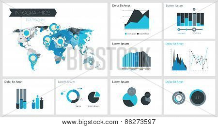Infographics Template With Polygonal World Map