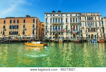 Venice, Italy - Mar 18 - Taxi Boat On Canal Grande On Mars 18, 2015 In Venice, Italy.