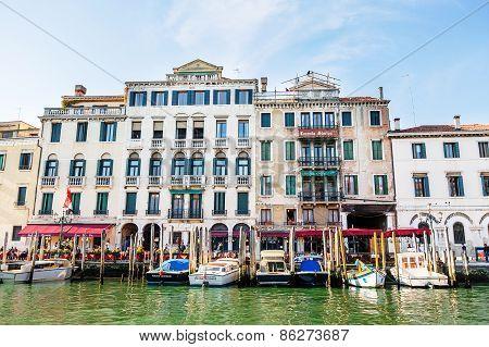 Venice, Italy - Mar 18 - Restaurant On Canal Grande On Mars 18, 2015 In Venice, Italy.