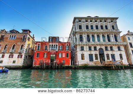 Venice, Italy - Mar 18 - Hotel On Canal Grande On Mars 18, 2015 In Venice, Italy.