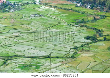 Water Is Fill Up For New Season At Rice Fields At Mai Chau Village , Hoa Binh, Vietnam.