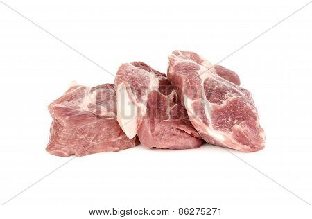 Slide Raw Meat Or Pork Isolated On White Background