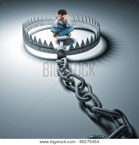 sit man on 3d bear trap