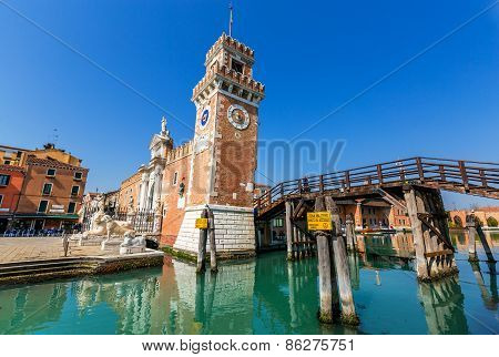 Venice, Italy - Mar 19 - Porta Dell' Arsenale On Mars 19, 2015 In Venice, Italy.
