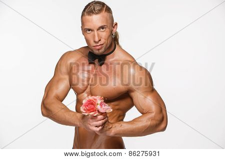 The Very Muscular Handsome Sexy Guy On White Background, Naked  Torso