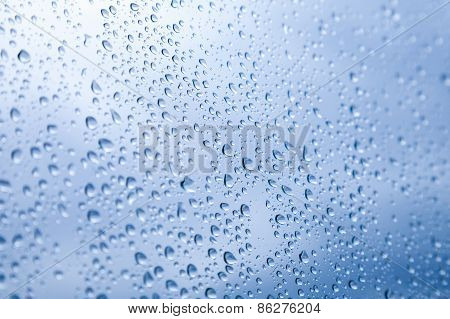 Blue Wet Glass With Droplets, Photo Background