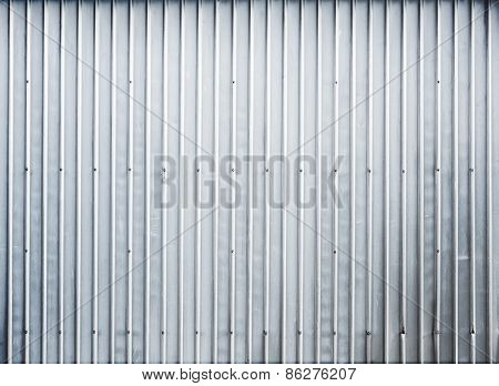 Shining Ridged Garage Metal Wall, Background Texture