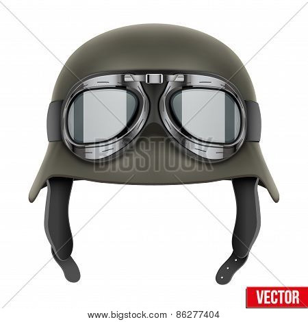 German Army helmet with protective goggles.