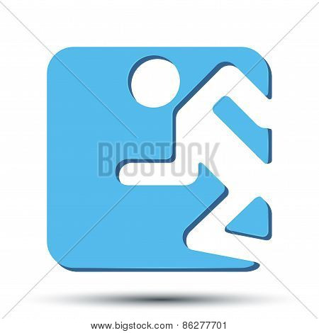 Flat icon with symbol Running people. Vector
