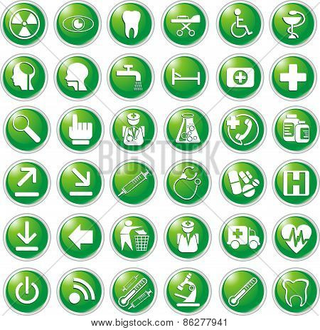 36 Medical Icons In Vector Green [