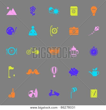 Slow Life Activity Color Icons On Gray Background