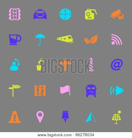 Map Sign Color Icons On Gray Background