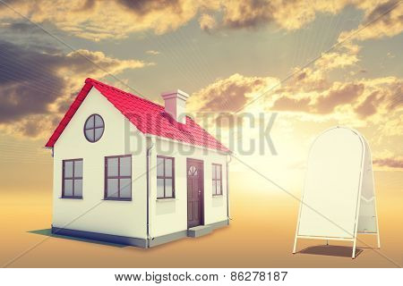 White house with red roof, brown door, sidewalk sign and chimney. Background sunset