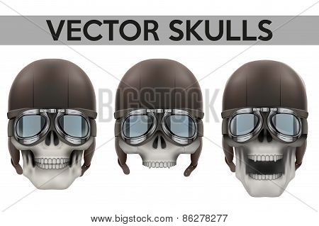Set of Human skulls with goggles and helmet.