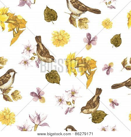 Seamless Watercolor Background with Sparrows