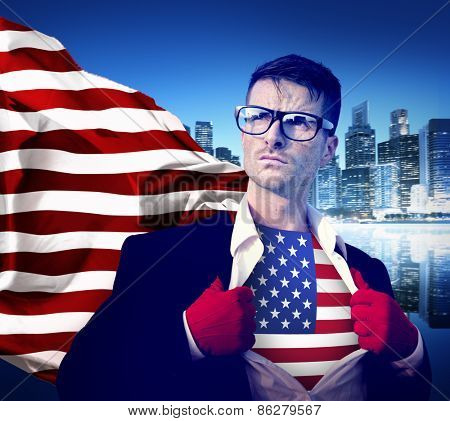Businessman Superhero Country American Flag Culture Power Concept